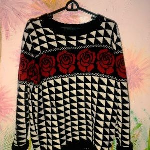 Forever 21 Checkered Rose Chunky Sweater